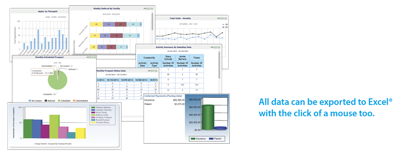 Practice Pro features powerful and flexible financial, clinical and practice management reports. All data can be exported to Excel® with the click of a mouse.